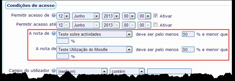 Plataforma Moodle - Acesso a atividades