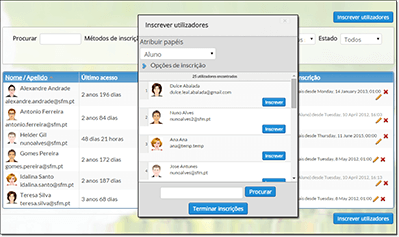 Plataforma e-Learning - Gestão utilizadores
